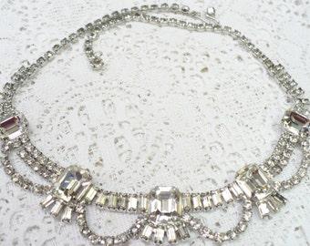 Spectacular Vintage RHINESTONE Choker Necklace - vintage WEDDING - Bridal Jewelry - Bridesmaid gift - silver tone bridal - Heirloom Keepsake