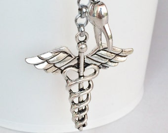 Silver Plated Caduceus Tooth Key Chain Bag Charm KC104