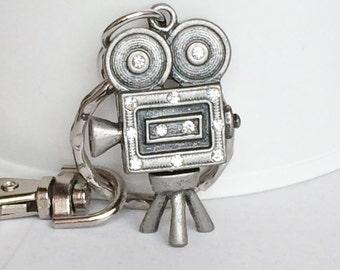 Video Camera Key Chain, Bag Charm, Silver Camera On Stand, Rhinestones KC02A