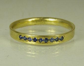 Blue Sapphire Gemstone, Engagement Ring,14 karat  ring, yellow gold ring,Recycled gold, Wedding Band, Gold