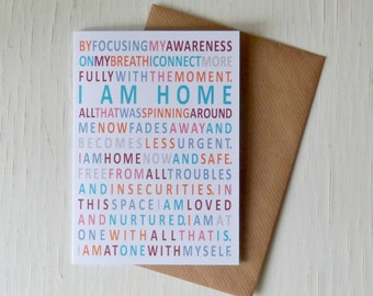 Mindfulness card, I Am Home, mindfulness gift card, cards to frame, made in Ireland, mindfully inspired - mindfulness - breathe - calm