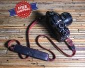 Handcrafted Adjustable Leather Camera Strap For Dslr, Nikon, Canon, Olympus OMD, Fujifilm XT-1, Sony NEX, Leica, Panasonic