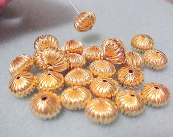 14/20 Gold Filled Corrugated Squished Pumpkin Saucer Beads ( 12mm x 8mm ) ( 9 pc.) @VillageBeadShop