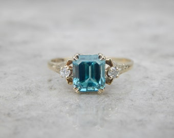 Classic Ladies Ring set with Vintage Blue Zircon Gemstone 7AFQN1-D