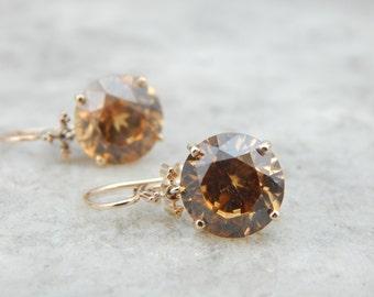 Rich Golden Zircon Drop Yellow Gold Earrings WQ9QZM-P