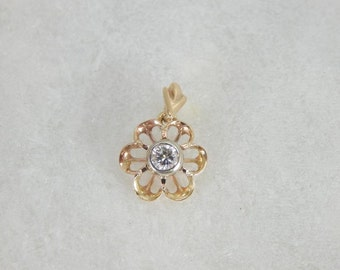 Vintage Buttercup Pendant With Bright Diamond 5YCJWL-N