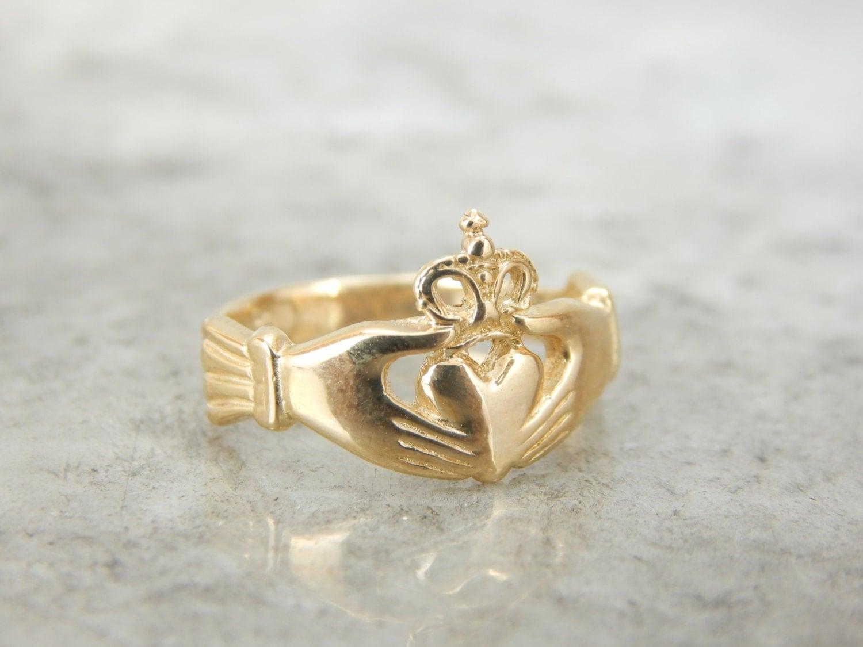 14k yellow gold claddagh ring vintage wedding unisex