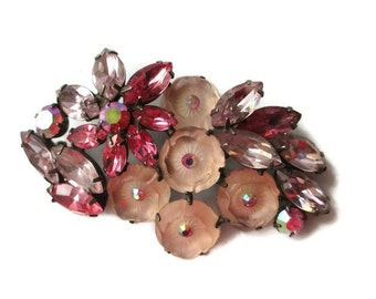 Vintage Regency Shades of Pink Molded Glass Rhinestone Flower Motif  Brooch