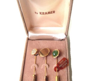 Vintage Kramer set of 3 Gold Tone Stick Pins with Semi Precious Stone