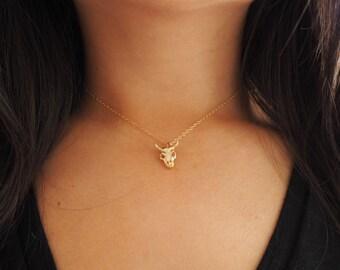 14k Gold Ox Skull Dainty Necklace