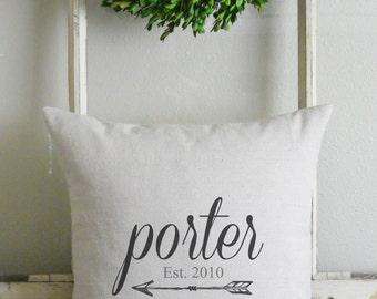 Last Name & Arrow 20 x 20 Pillow Cover_family, wedding, est., home decor, cushion, throw pillow, gift, present_