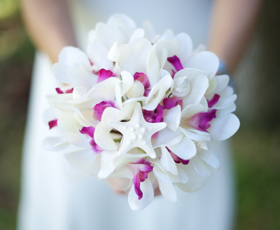Silk Wedding Bouquets Orchids : Wedding silk fuchsia orchids bridal bouquet and seashells