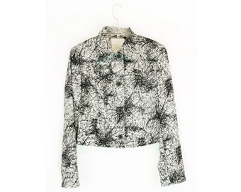 Vtg 80s/90s Cache Black and White Marble Print l/s Cropped Jacket/Blazer size small (6)