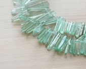 20 pcs of Good Quality Green Titanium Crystal Quartz Points Beads - Top Drilled