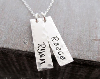 Two Sterling Silver Hand Stamped Name Charms, Mother Jewelry, Mom, Personalized Necklace