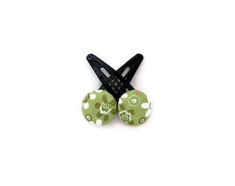 Green Hair Clips/ Fabric Button Hair Clips/ Green Fower Hair Clips/ Girl Hair Clips/ Printed Hair Clips/ Green Hair Accessories
