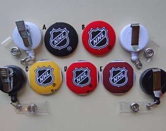 Retractable Badge Holder - Fabric Covered Button - NHL Logo