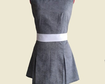 Sleeveless cotton dress Baby collar Vintage style
