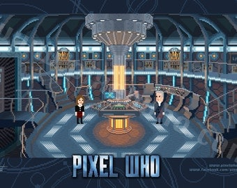 Pixel (8 bit) 12th Doctor Console Room Print