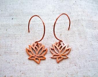 Pure Copper Lotus Flower Earrings, Meditation Earrings in Solid Copper