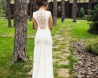 Ivory Crepe Open Back Wedding Dress and Handmade Embellishments, Bridal Dress with Train L12, Simple Wedding Dress