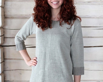Knitted Linen Tunic Top With Fabric Decorations