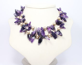 Purple Amethyst Statement Necklace - Chunky Amethyst Necklace with Gold Pearl Accents - Gemstone Jewelry - Double Strand Statement Necklace
