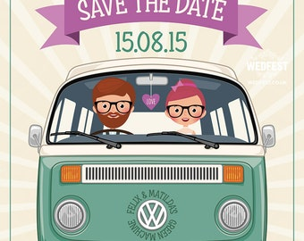 VW Campervan Hipster Wedding Save the Date Cards