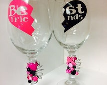 Best friends wine glass set