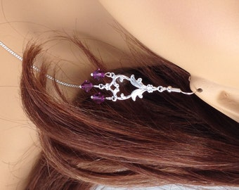Purple Bridesmaids chandelier Earrings with Swarovski Bicones, Bridesmaid Earrings, Chandelier Bridal Earrings, Purple Wedding Jewelry - SB1