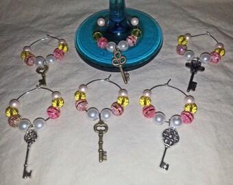 Six Key Charm Wine Glass Stem Rings (I 350)