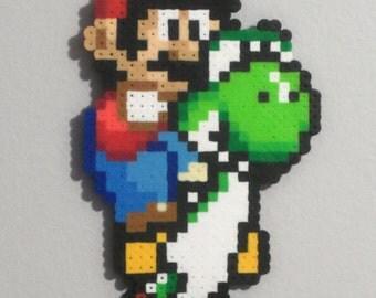 Mario and Yoshi pixelated wall art