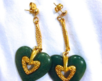 Vintage Lanvin-Like Jade Colored Earrings