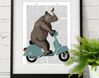 Rhino on Blue Moped - Rhino Print Rhino Art Rhino Picture rhinoceros print scooter funny artwork baby nursery room art kids wall art