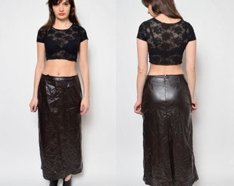 Vintage Brown Faux Leather Long Skirt