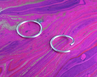 12 Gauge Hoop, Sterling Silver Piercing Ring, stretched earring, belly button, navel, tongue, nipple, septum or labret ring, 12mm - 35mm