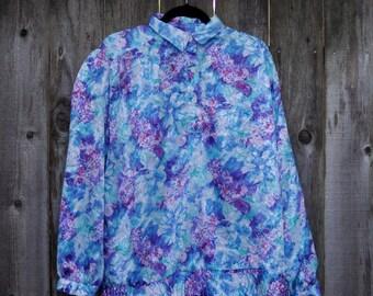 1980s Vintage Plus Size Pastel Floral Blouse
