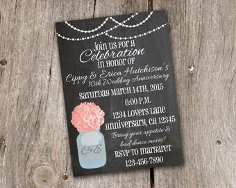 Hydrangea and Mason Jar Chalkboard Vow Renewal Wedding Invitation