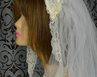 "Vintage White Lace Applique Headband-style Bridal Cap w 106"" Veil & 25"" Blusher, Wedding"