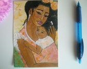 Miracle - original modern african american folk painting mother and child ArT
