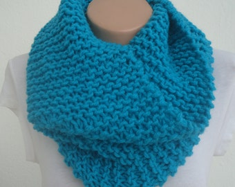 Chunky turquoise knit scarf / knitted scarf / turquoise scarf turquoise knit snood /Ready to ship scarf/ knit scarf /cowl/