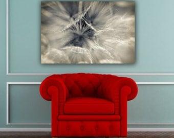 Dandelion Photograph, Abstract Macro Nature Photography, Blue Gray & White Horizontal Wall Art, Fine Art Geometric Botanical Photo Print