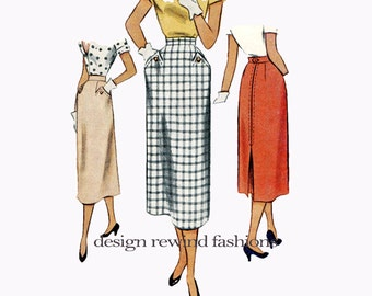 """1950s SKIRT PATTERN Rockabilly Straight Skirt Mid-Calf Length Waist 26"""" 66cm Inverted Back Pleat McCalls 8159 Vintage Womens Sewing Patterns"""