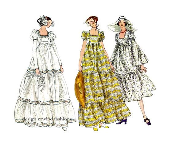 70s wedding dress pattern bridesmaid dress pattern boho empire for Empire waist wedding dress patterns