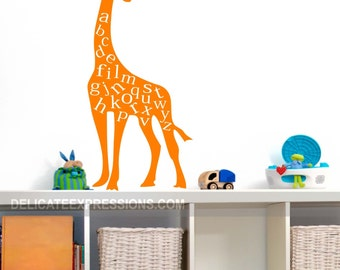 Alphabet Wall Decal  ABC Playroom Wall Decal  Giraffe Wall Decal Vinyl Lettering  Childrens Decor Vinyl Decal  Kids Vinyl Wall Art