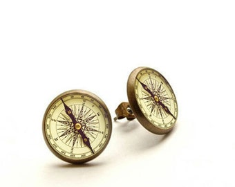 Compass - handmade stud earrings