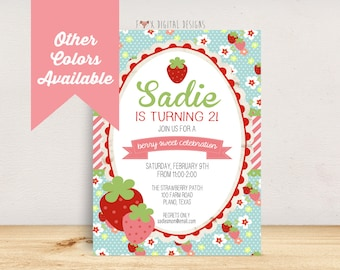 Strawberry Birthday Invitation - Custom - Printable