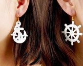 SALE statement earrings // white/navy/gold lace earrings //nautical earrings // steering wheel anchor // gift for her