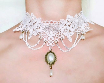 SALE white lace choker necklace - pearl beaded charmed - bridal wedding vintage retro - Fabric jewelry gift SALE