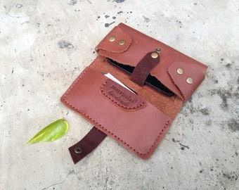 brown leather phone wallet, leather bag, handmade, leather pouch, mobile case, gadget wallet
